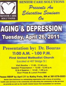 announcement for talk on aging and depression by Dr. Bouras